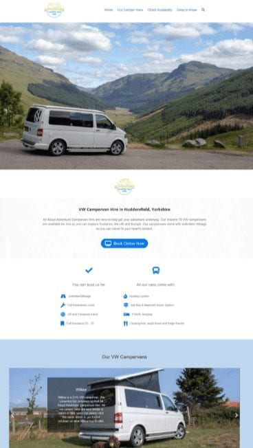 new website deigned with booking system for vehicle rental by Website designer in Huddersfield