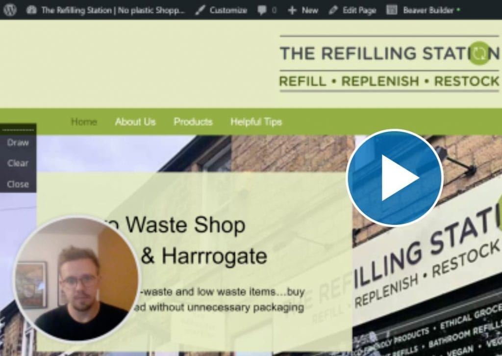 Photos showing snippet of video tutorial for growing mailing list
