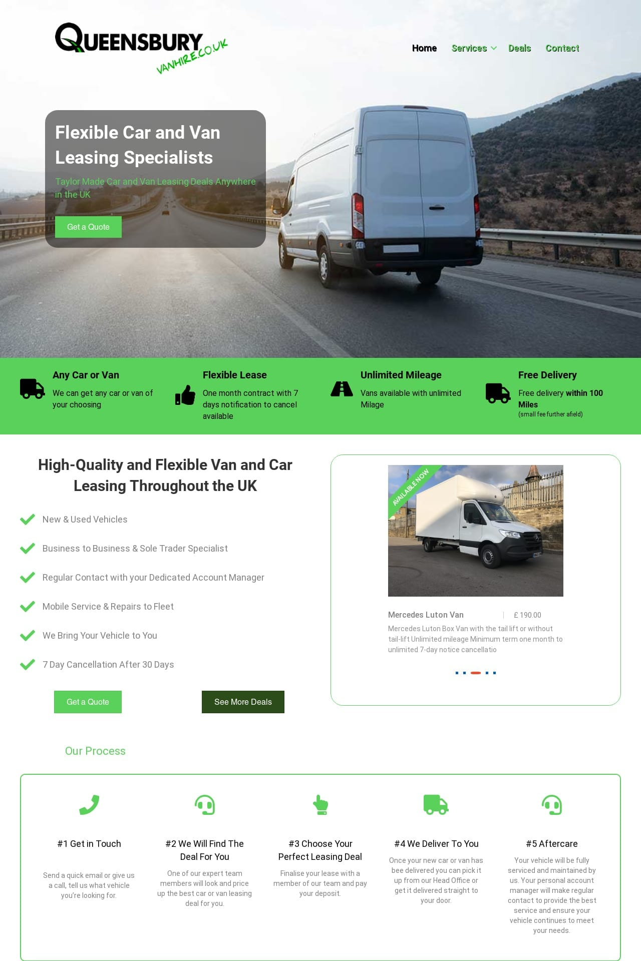 Full Screen Queensbury Van Hire website screen shot 4x6