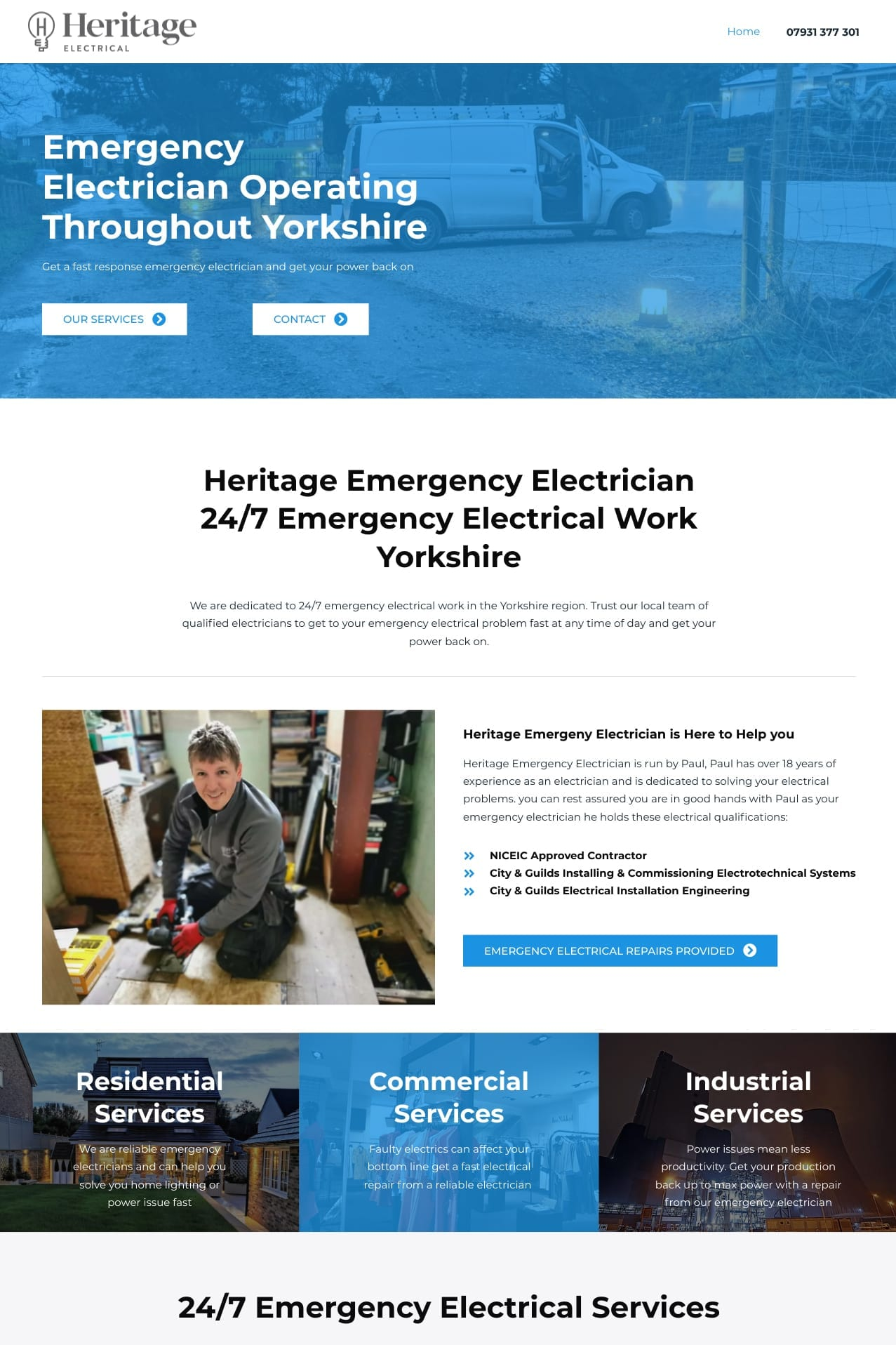 Heritage Emergency Electrician website holmfirth Screen Shot 4x6