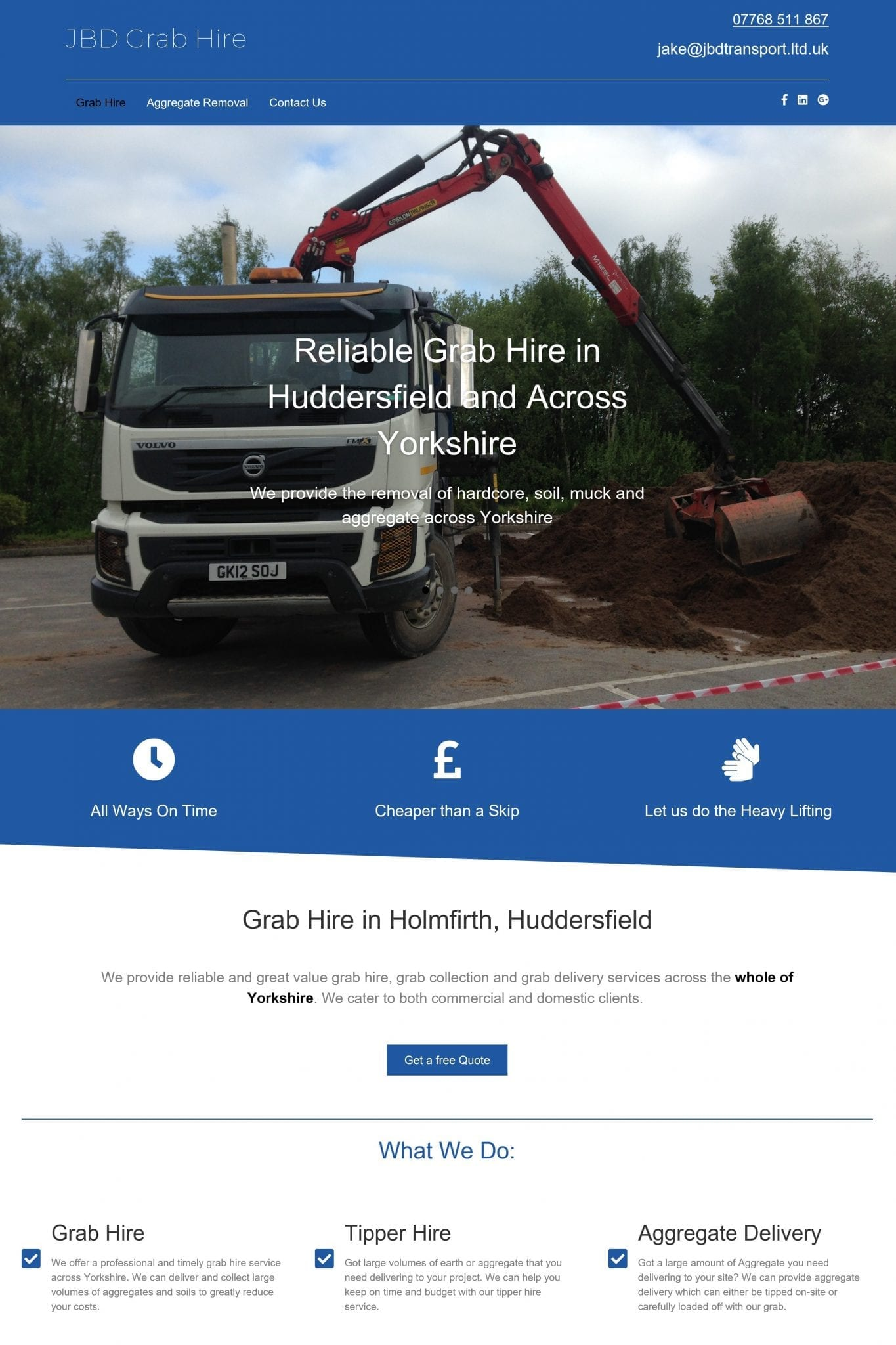 JBD Transport in holmfirth website screen shot 4x6