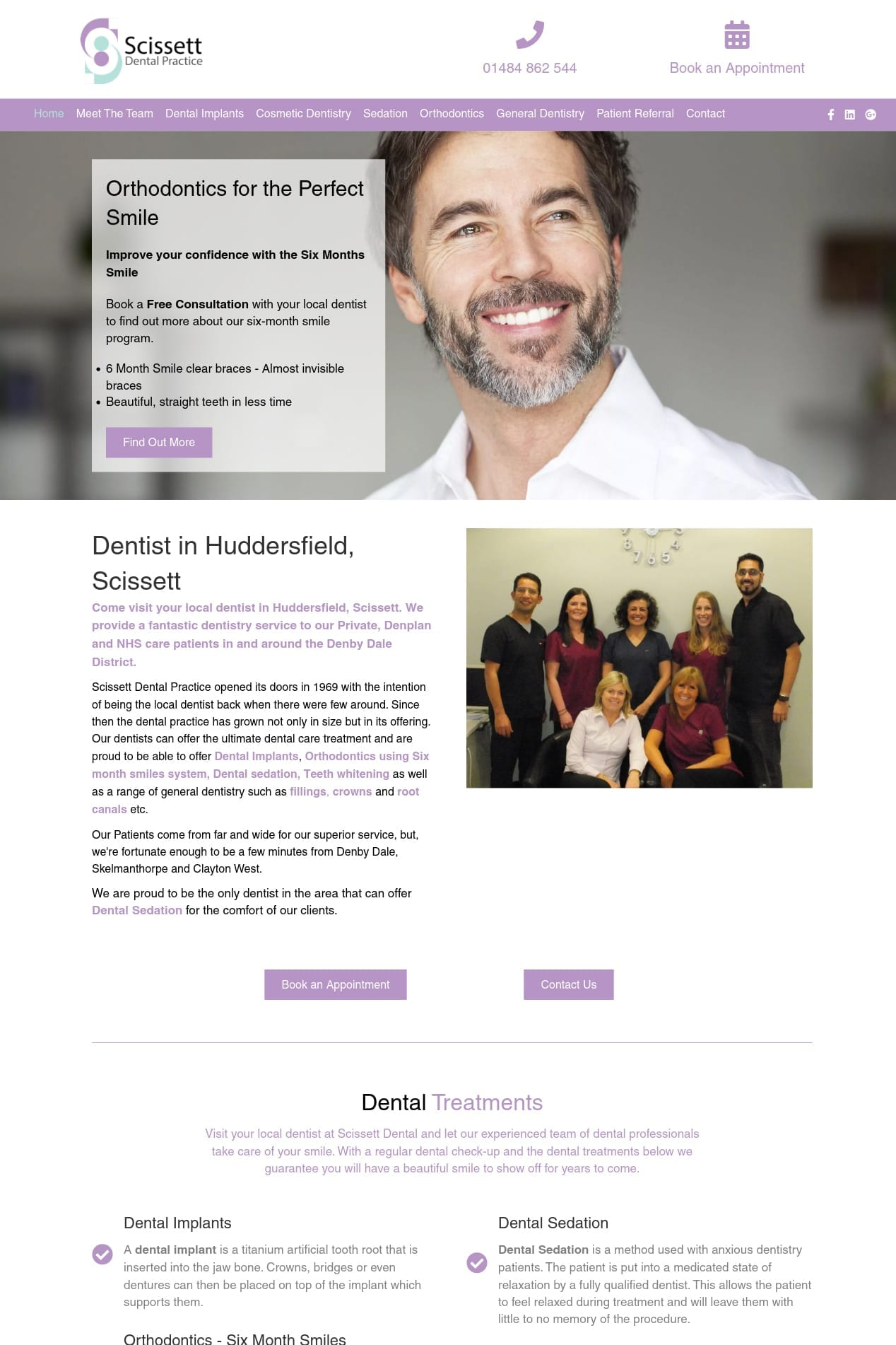 Scissett Dental Practice website snippet in Scissett, Huddersfield