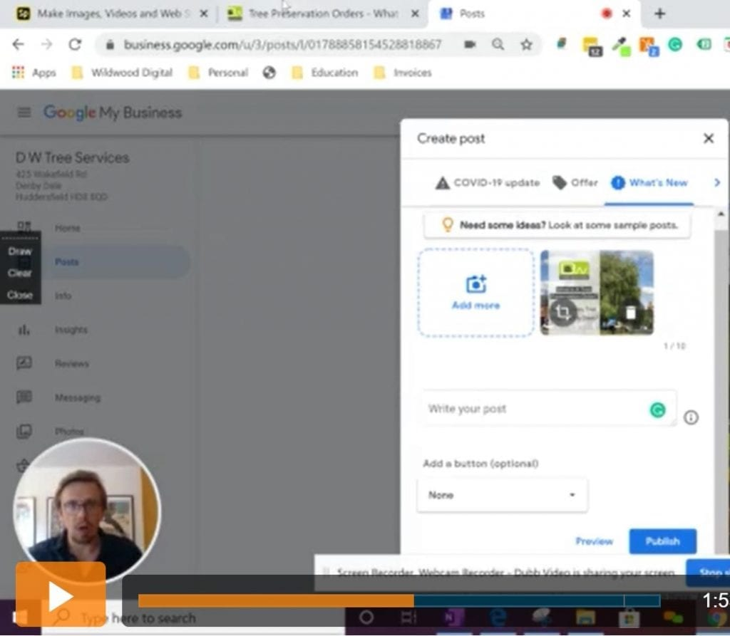 Screen Shot of a Video showing users how to create a post on google my business