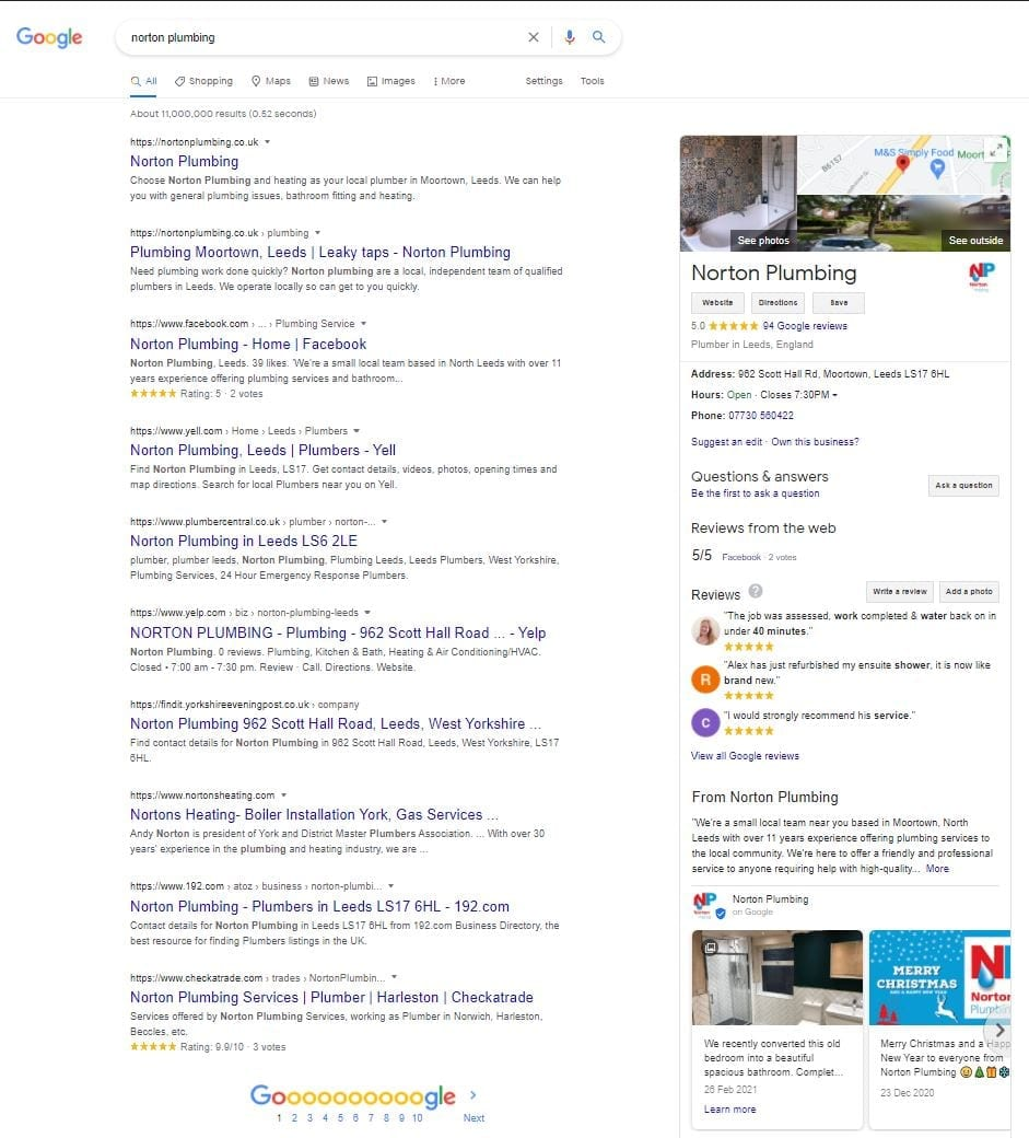 Norton Plumbing's google my business page on google search engine