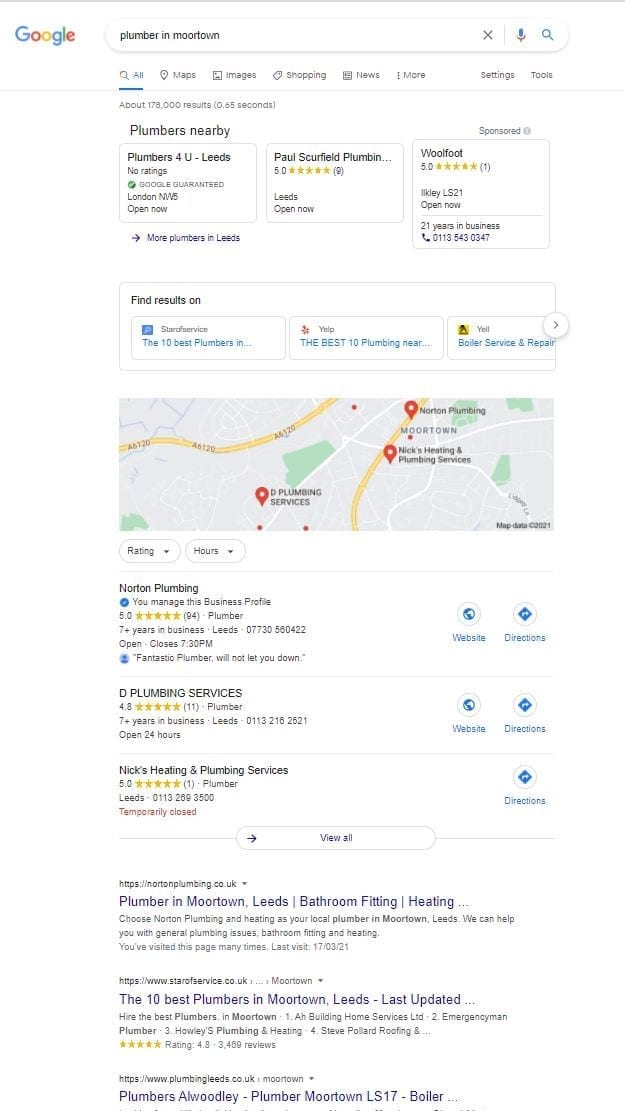 Norton Plumbings position on Google's Map 3 pack 16.9