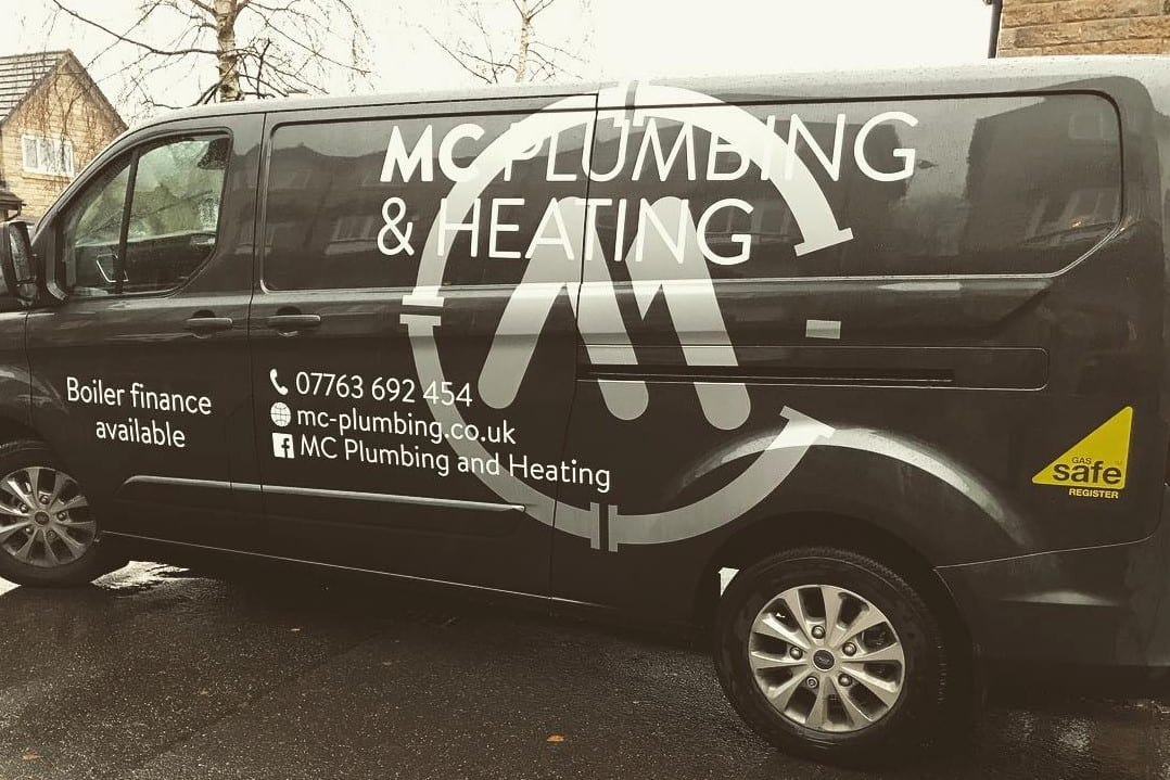MC Plumbing and heating van sign written with company logo in Huddersfield, Scissett
