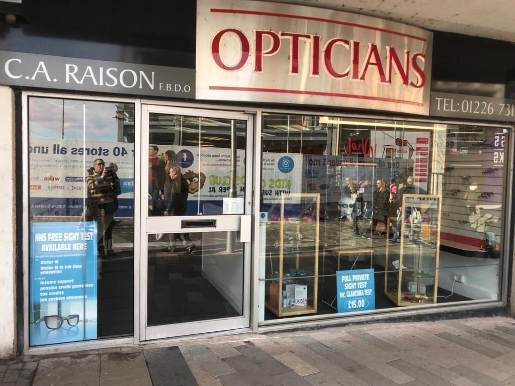 C A Raison Opticians shop fron, a local independent optician in Barnsley Town Centre
