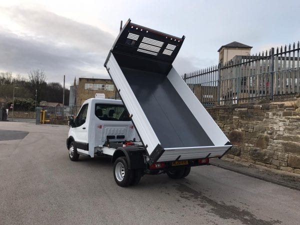 White Ford Transit Tipper with flexible lease deal back