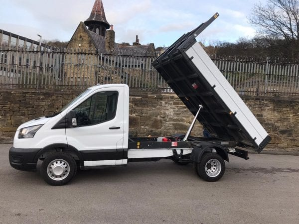 White Ford Transit Tipper with flexible lease deal