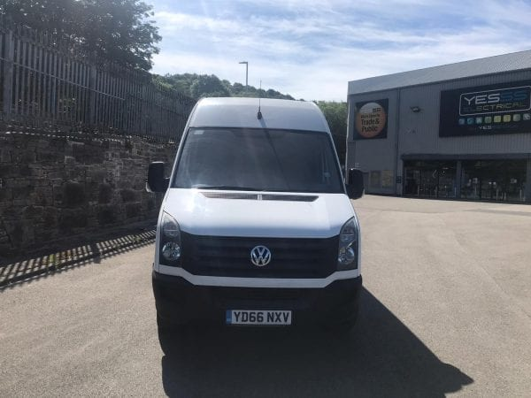 White long wheel base VW Crafter Van front for sale
