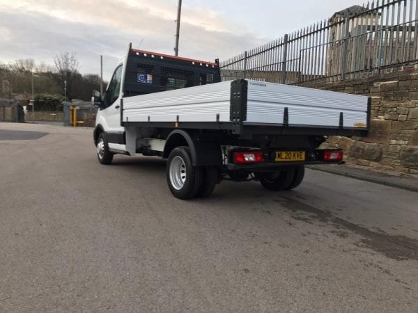 White Ford Transit Tipper with flexible lease deal backside