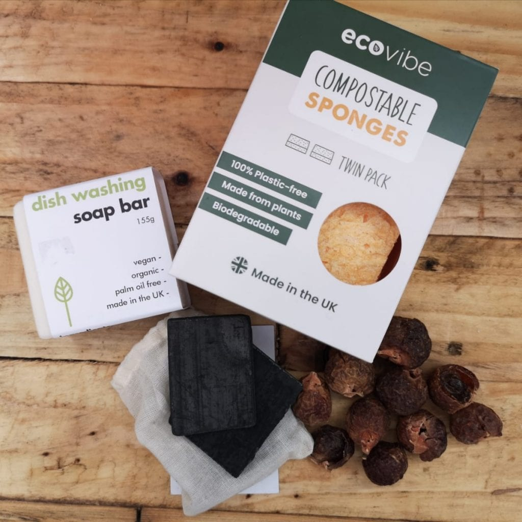 Compostable sponge and soap bar