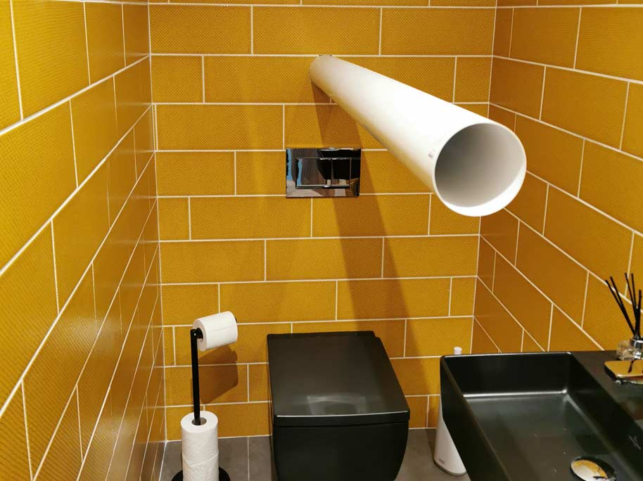 Installing a duct in a toiler