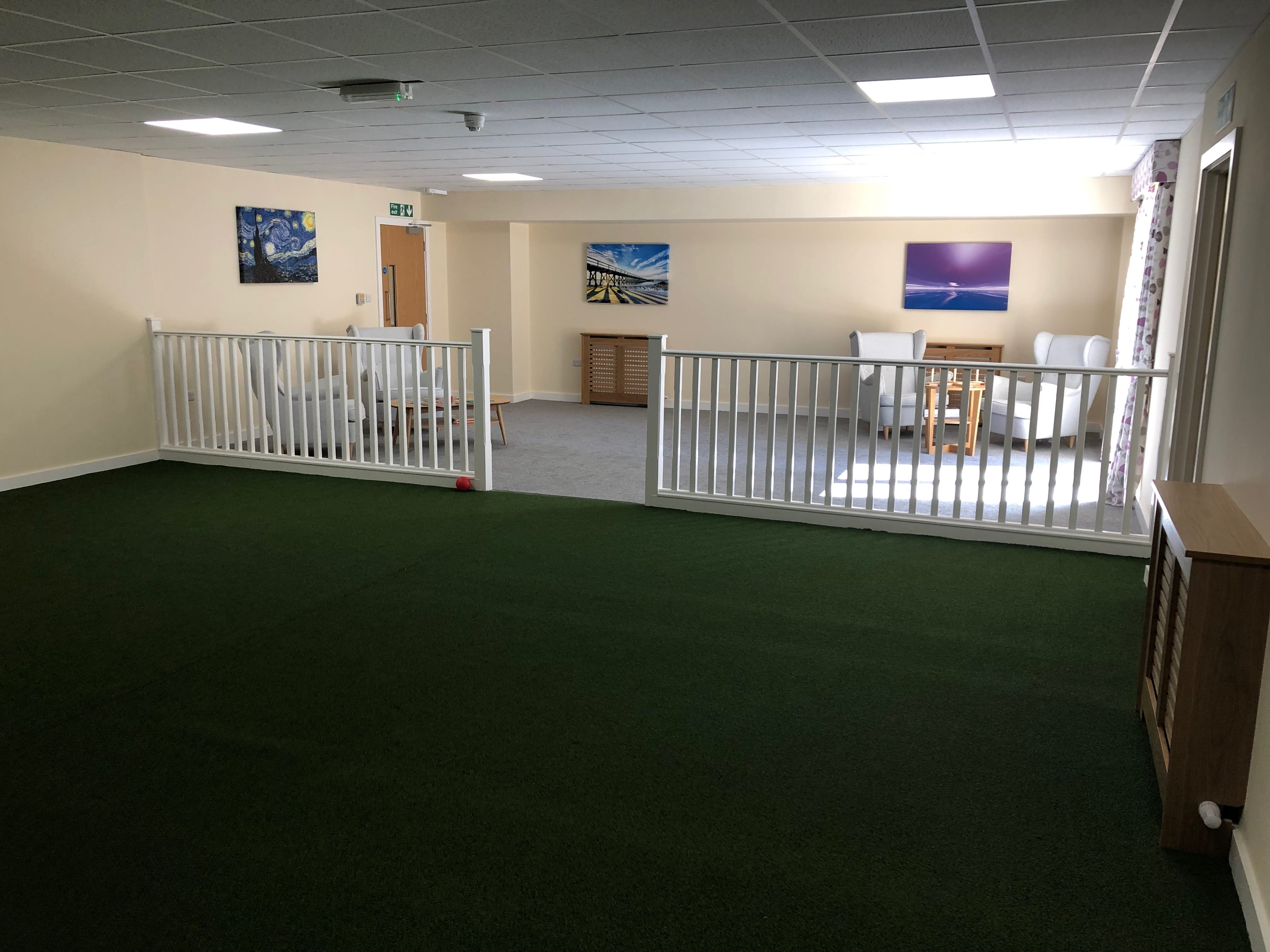 Indoor Bouls area for residential care patients at Scissett Mount Care Home in Huddersfield