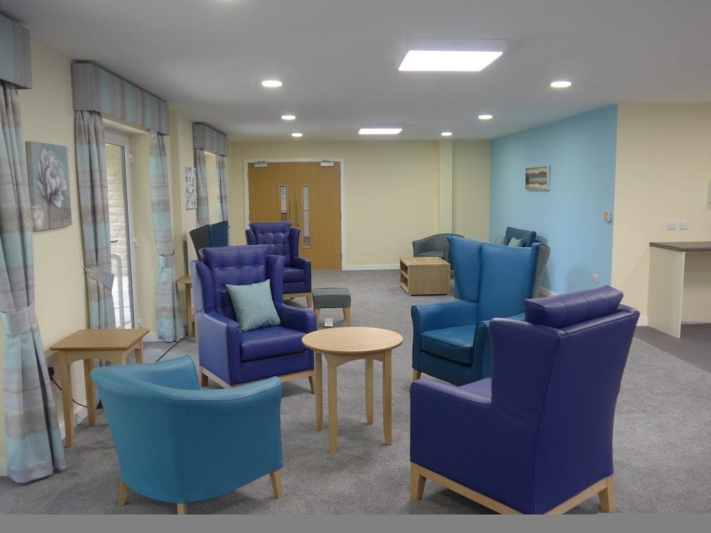 Socialising area for residential care patients at Scissett Mount Care Home in Huddersfield