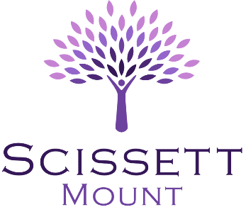 Logo For Scissett Mount care home featuring a purple tree