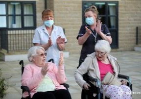 residents and carers outside scissett mount care home
