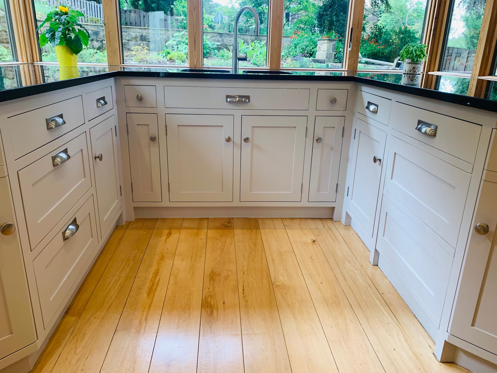 Hand painted kitchen cabinets in Leeds painted by gareth thompson decorator