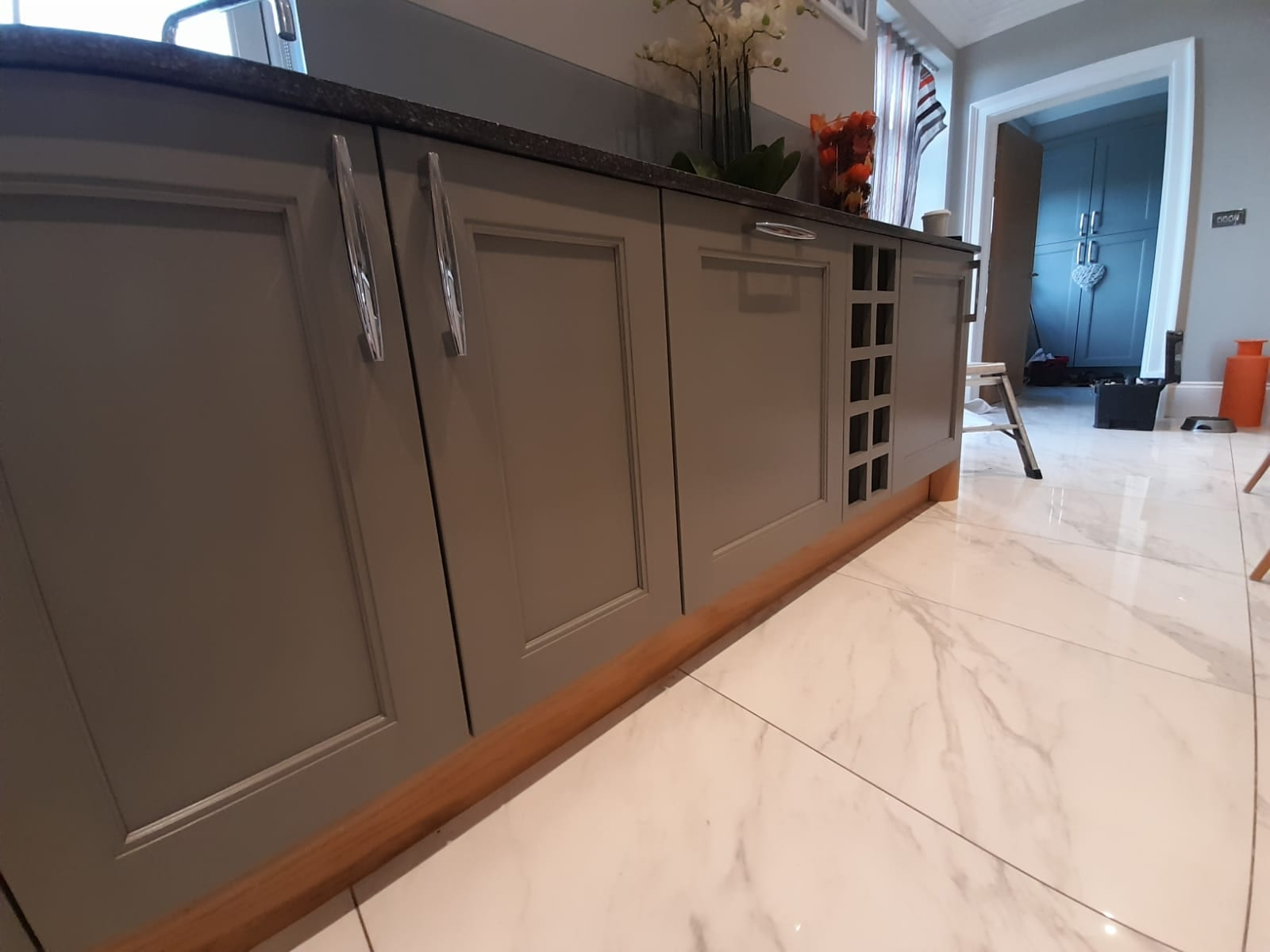 Hand painted Sink Kitchen Cabinets in Harewood, Leeds by Gareth Thompson Decorators