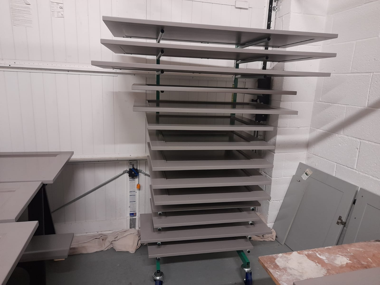 Cabinet doors after preparation for hand-painting a kitchen in Leeds by Gareth Thompson Decorators