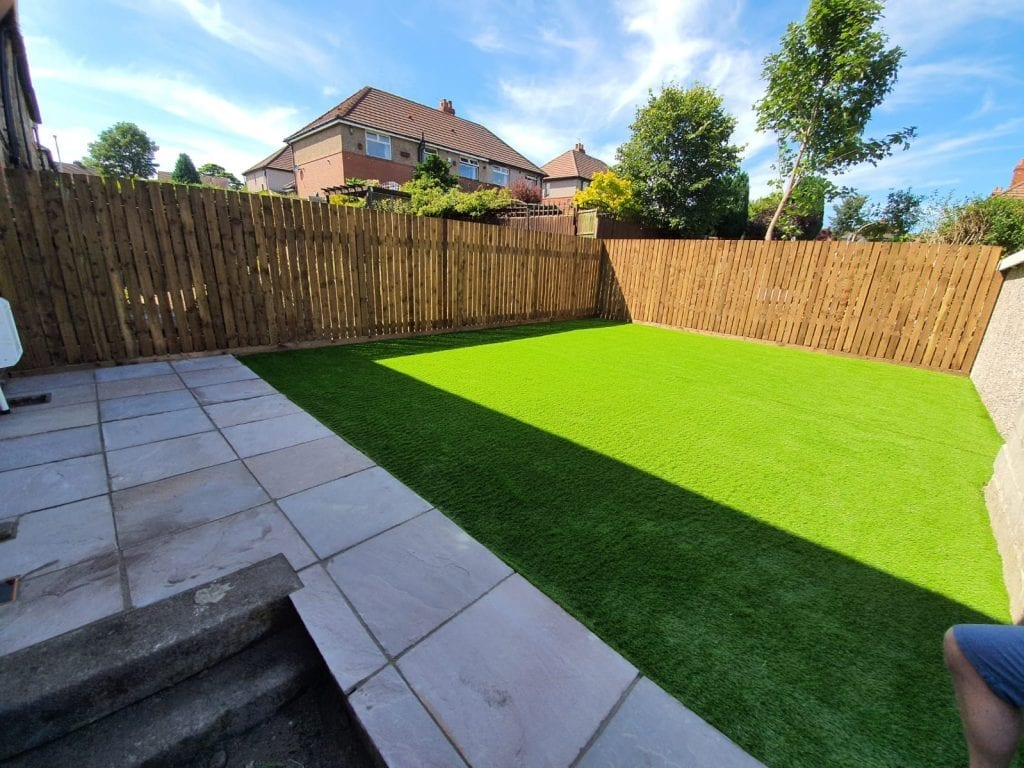 Artificial Grass and new paving layed in Huddersfield by RBS Home Improvements