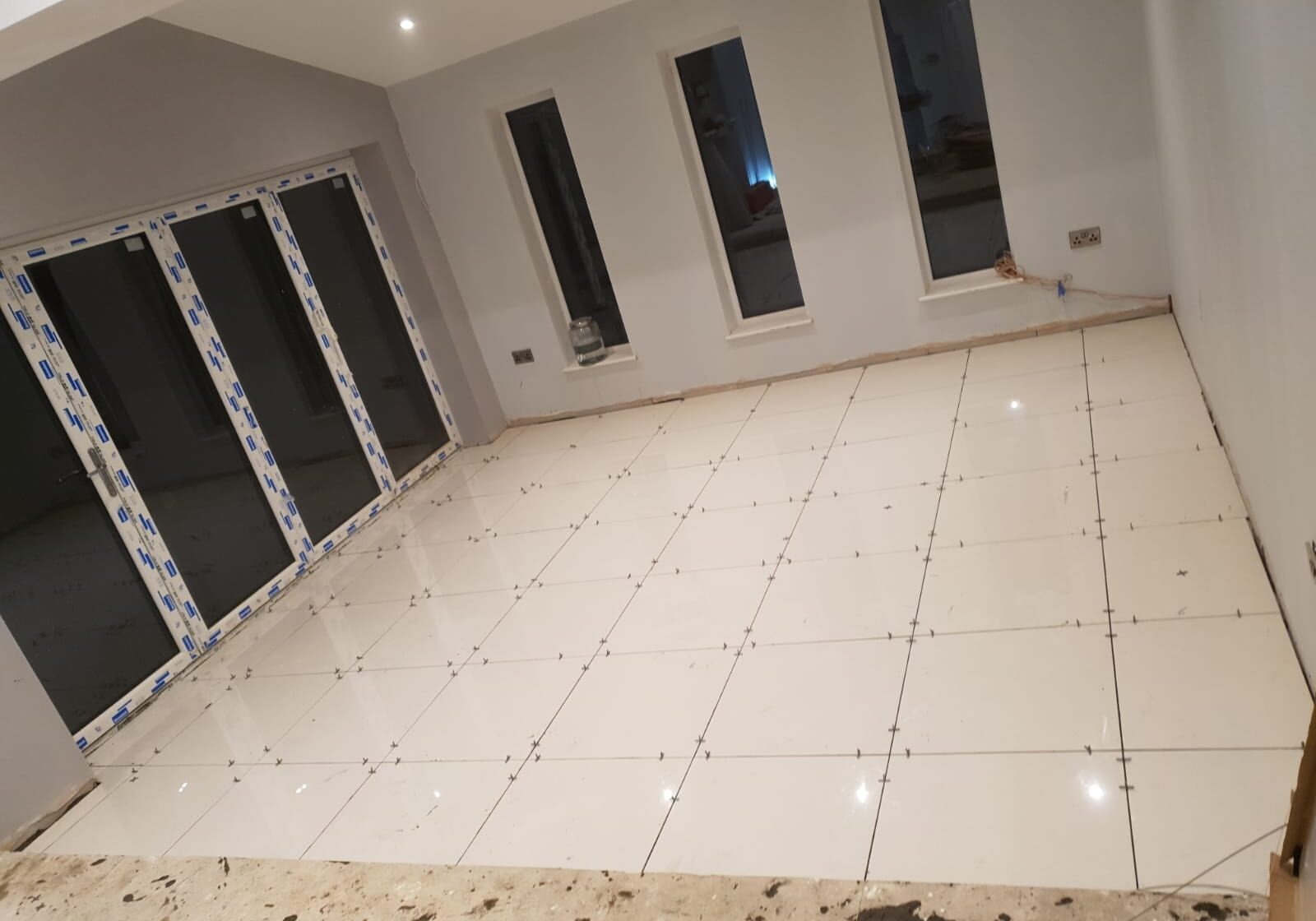 Tiled flooring in house extension built in Barnsley
