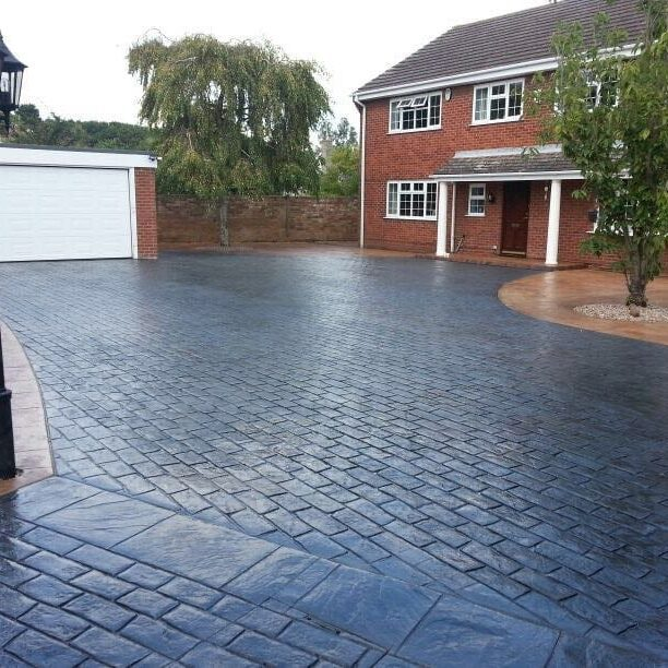 Pattern Imprinted concrete driveway at front of house in Huddersfield